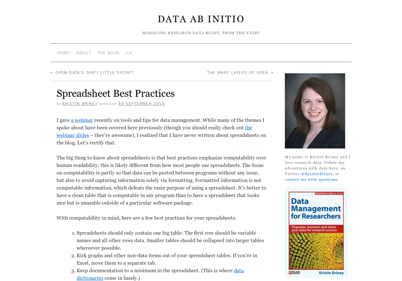 Screenshot of Data Ab Initio blog